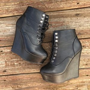 Black Lace-up Combat Boot Wedge